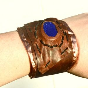 Lapis Lazuli Brown Leather Copper Cuff Bracelet